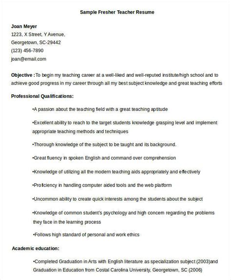 sle resume for teaching profession for freshers 4 resume format for fresher malawi research