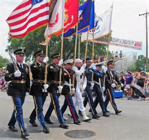 army color guard civilian community members celebrate battle of
