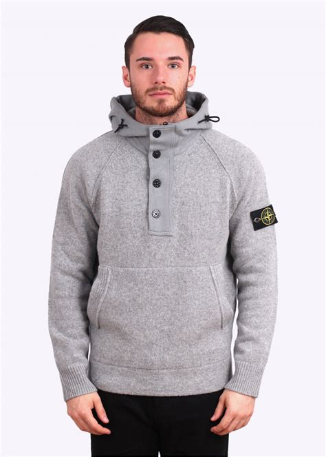 Island Grey Knitted Hooded Sweater