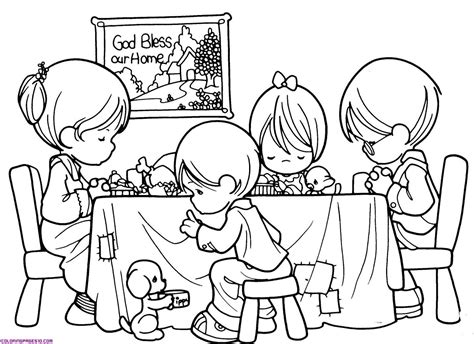 Coloring Pages Of A Family Eating | family is praying before eating