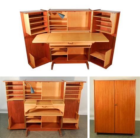 teak and sycamore compact home office desk and storage