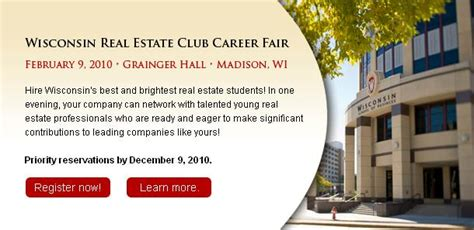 Wisconsin Real Estate Mba by Career Outlook And On Cus Recruiting
