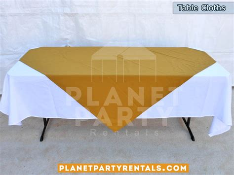 rectangular white table cloths with gold overlay