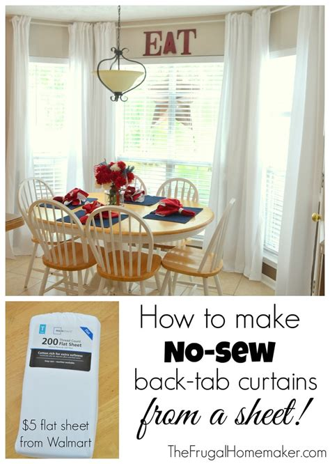 how to make curtain tabs no sew inexpensive long curtains made from sheets