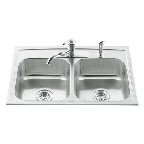 Kitchen Stainless Steel Sinks Shop Kohler Toccata 22 In X 33 In Basin Stainless Steel Drop In 3 Residential