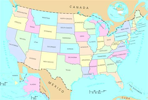 arizona state in usa map map of united states free large images