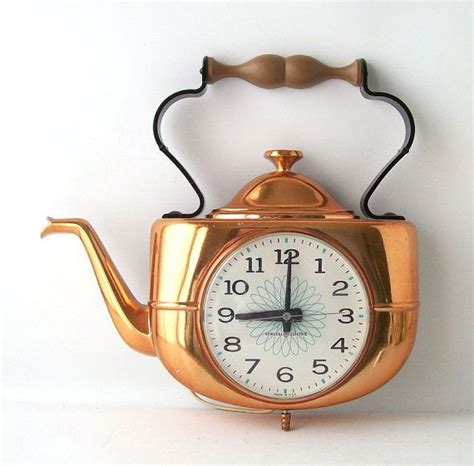 decorative wall clocks for kitchen vintage ge wall clock kitchen teapot copper electronic