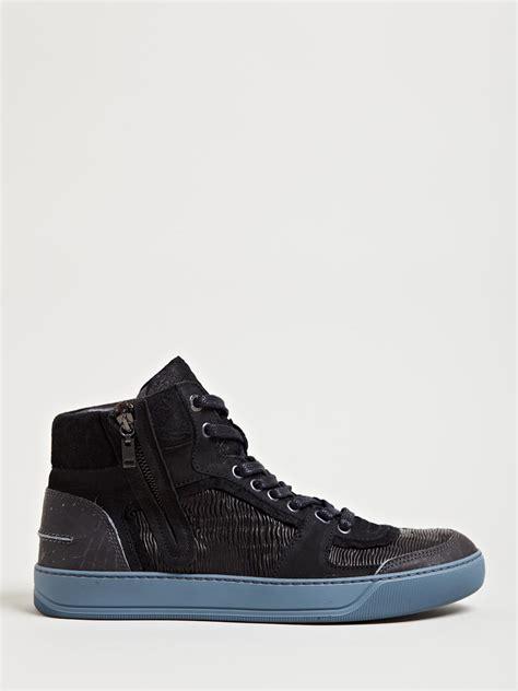 lanvin s sneakers lanvin mens mid high basket sneakers in black for lyst