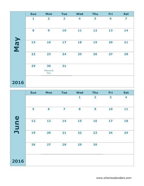 Calendar May And June 2016 May And June 2016 Calendar Printable Template