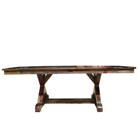 Solid Wood Extension Dining Table Mckay X Base Solid Wood Rustic Dining Table W Extension