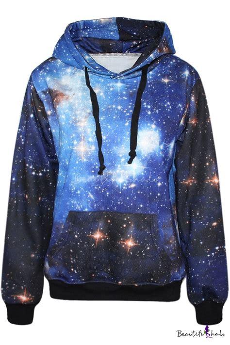 blue galaxy print hoodie beautifulhalo