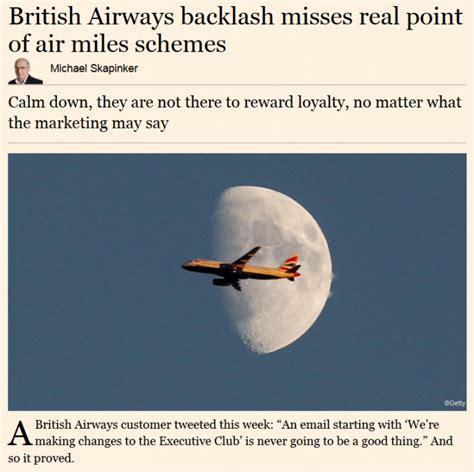 Financial Times Letter To The Editor Financial Times Quot Airways Backlash Misses Real Point Of Air Schemes Quot Loyaltylobby