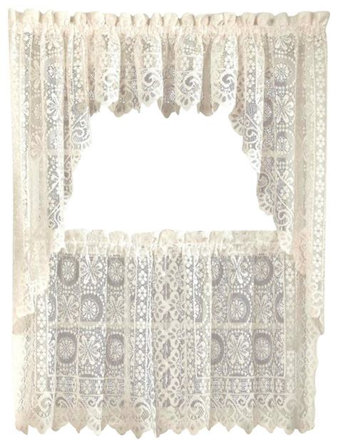 Lace Kitchen Curtains Hopewell Lace Kitchen Curtain Traditional Curtains By Linens4less