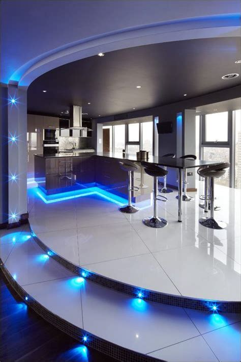 Led Lights In The Kitchen Kitchen Ultra Modern Kitchen Concepts With Beautiful Led Lighting In Blue Color Choice