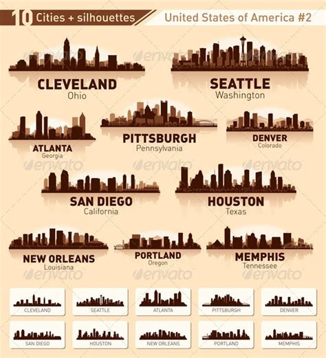 cleveland skyline tattoo skyline city set 10 cities of usa 2 graphicriver this