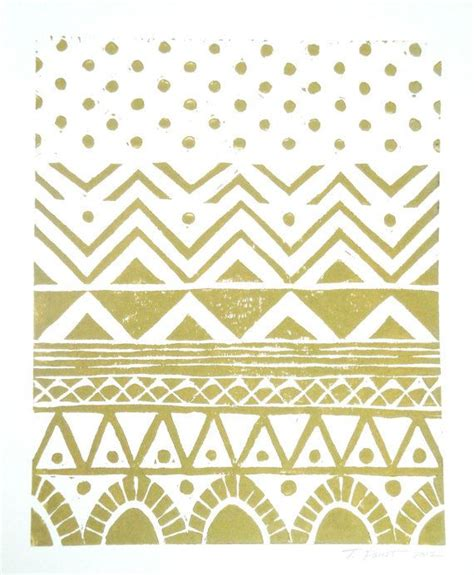 Tribal Pattern Black And Gold | print geometric tribal pattern linocut 8 x 10 wall art