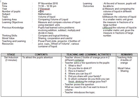 lesson plan template primary teaching and learning mathematics primary school lesson