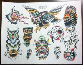 owls traditional tattoo flash sheet
