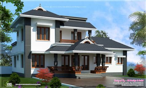 kerala home design latest 2000 sq feet 4 bedroom sloping roof residence kerala
