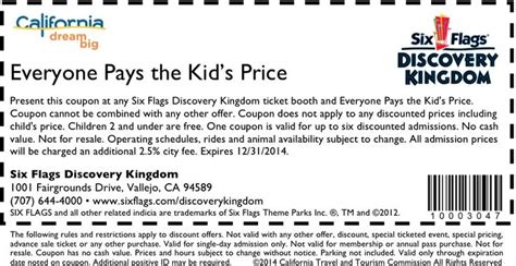 discount voucher kiddies kingdom 17 best images about six flags coupons on pinterest