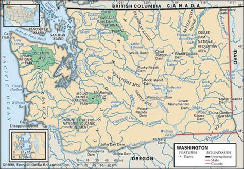 washington rivers map stock illustration physical map of the state of