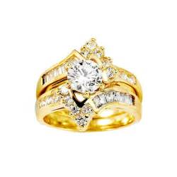 14k yellow gold center cz wedding ring set grapi s c