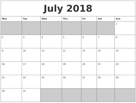 printable calendar monday start july 2018 blank printable calendar