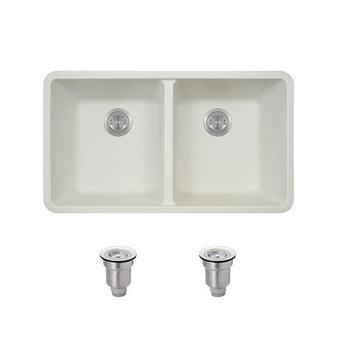 white composite kitchen sinks mr direct all in one undermount composite 33 in double basin kitchen sink in white 802 w bskt