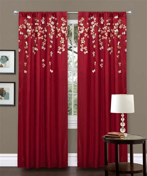 Red Flower Drop Curtain Panel
