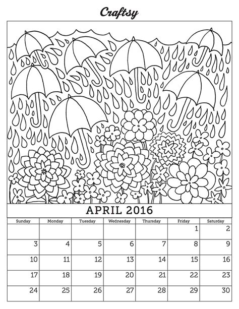 printable calendar to color free 2016 calendar coloring pages