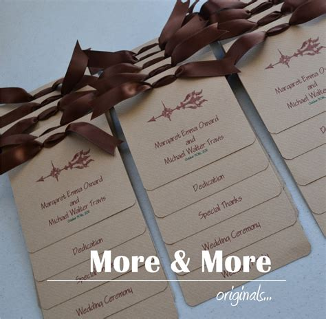 Handmade Wedding Programs - items similar to custom layered wedding programs set of