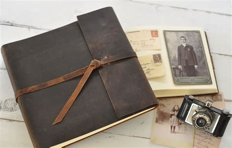 Personalised Handmade Photo Albums - leather photo album rustic leather album w wrap closure
