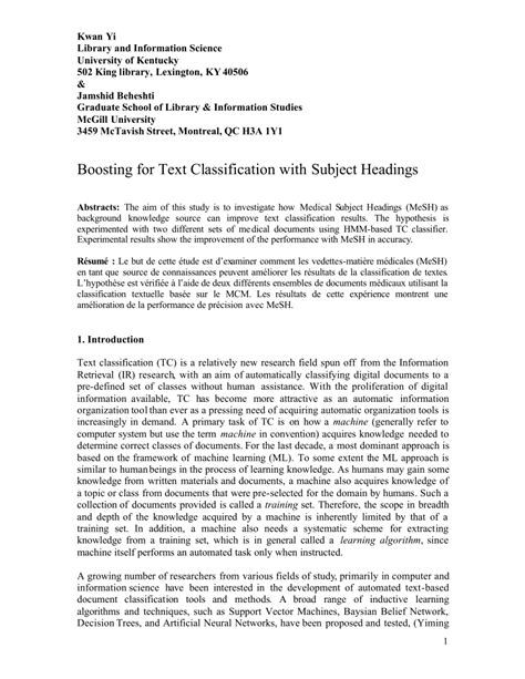boosting  text classification  subject headings