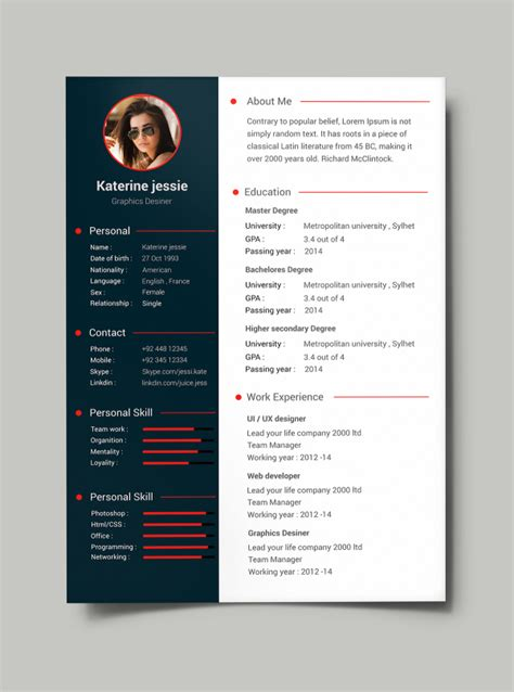 cv design templates free 34 free psd cv resumes to find a free psd