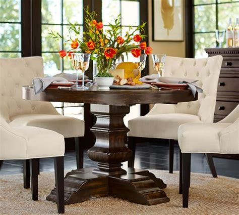 Pottery Barn Kitchen Furniture Banks Extending Pedestal Dining Table Pottery Barn