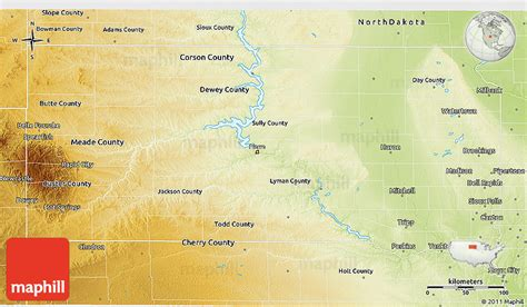 physical map of dakota physical map of dakota physical map of dakota