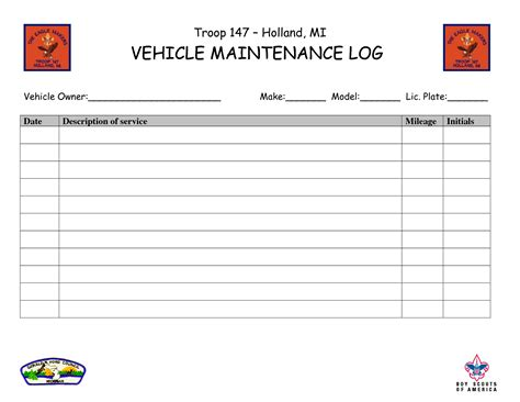 vehicle maintenance log template free download speedy template