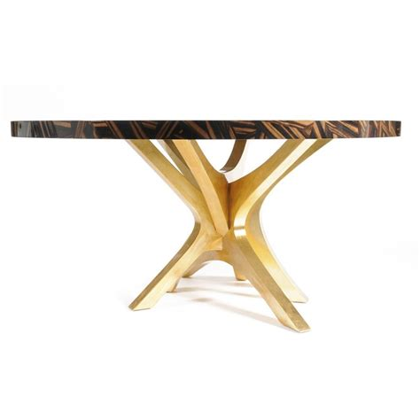 luxury mosaic veneer dining table with gold leaf legs - Dining Table With Gold Legs