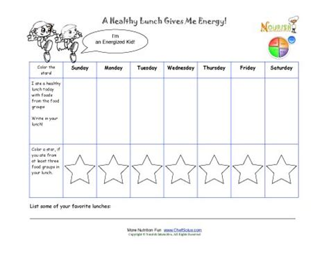 printable children s diary printable write in your healthy lunch weekly tracking sheet