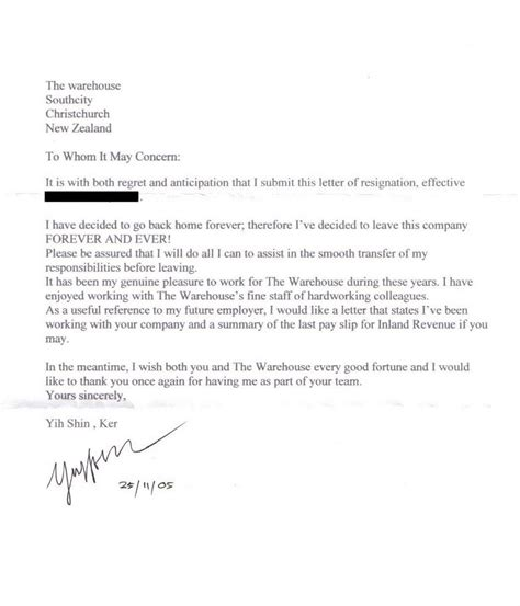 Resignation Letter New Zealand Addictivesubstance Resignation Letter