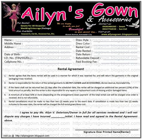 ailyn s gown rental agreement measurement color