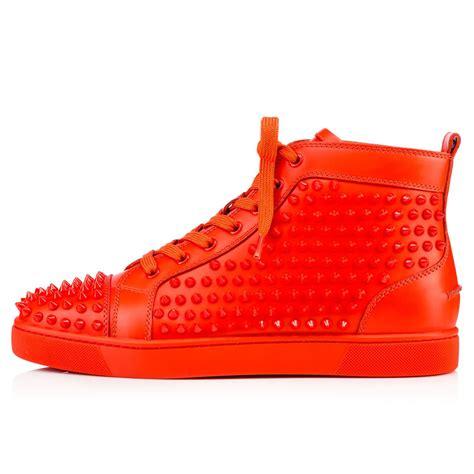 christian louboutin sneakers christian louboutin s orange louis spikes flat high