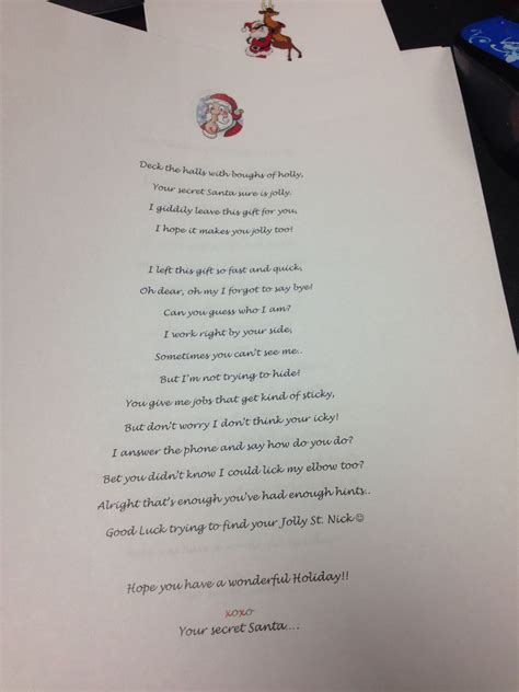 secret pal poems secret santa reveal poem secret