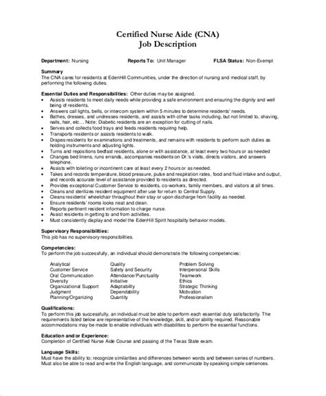 Cna Description Resume by Nursing Assistant Description For Resume Resume Ideas