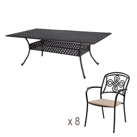 Table 8 Chairs by 210x106 Rectangular Table 8 Brompton Chairs Bronze Outside Edge Metal Garden Furniture