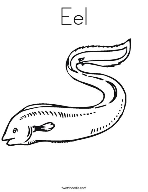 eel coloring page twisty noodle
