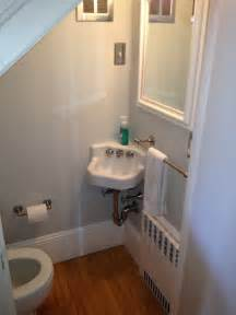 Cute half bath tucked under stairs bathroom pinterest