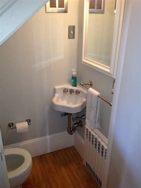 tiny half bathroom ideas cute half bath tucked under stairs best baths
