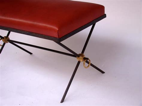 black wrought iron bench seat french black and golden lacquered wrought iron and leather