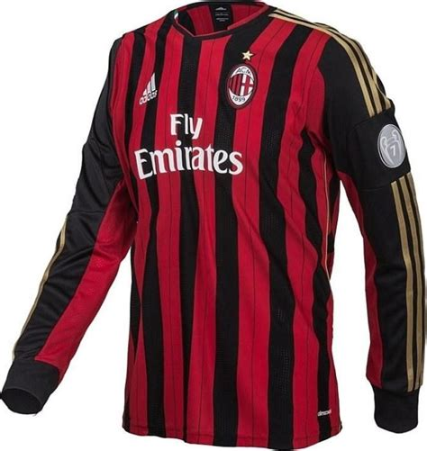 Jersey Bola Ac Miland Home Loong Ls Sleeve Official 17 18 Grade Ori ac milan jersey chions league sleeves 2013 2014